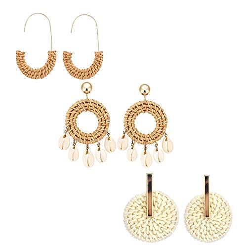 Rattan Hoop Earrings for Girl Handmade Wicker Straw Stud Earrings Weave Shell Drop Dangle Statement Earrings (3 Pairs) ()