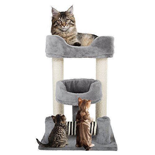 (3 Tier Cat Tree- Plush Multi-Level Cat Tower with Sisal Scratching Posts and Perch Style Beds for Cats and Kittens By PETMAKER (23Â