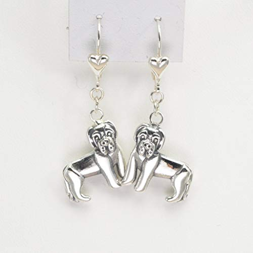 Sterling Silver Newfoundland Earrings, Silver Newfoundland Jewelry fr Donna Pizarro's Animal Whimsey Collection
