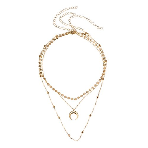 Manerson Moon Pendant Choker Necklace Sequins Chain Jewelry For Women Mother's Day Gift Gold Tone