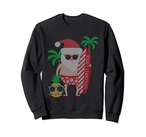 Surfing Santa Ugly Sweater Sweatshirt Xmas Gift for Him Men ()