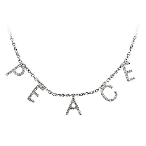 925 Sterling Silver Word PEACE Diamond Necklace (1/4 Carat)