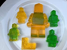 Premium 8pc Lego Candy Molds–Chocolate Molds–Jello Molds–Fondant Molds–Non Stick-Easy to use–Strong&Durable-Silicone Baking Molds–Easy To Clean–Dishwasher Proof Molds–Lego Blocks, Robots&Men(Set of 8)
