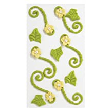 Jolee's Boutique Confections Icing Flourishes with Flowers Dimensional Stickers, Green and Yellow
