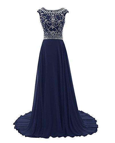 Bridal_Mall - Vestido - Sin mangas - para mujer azul marino