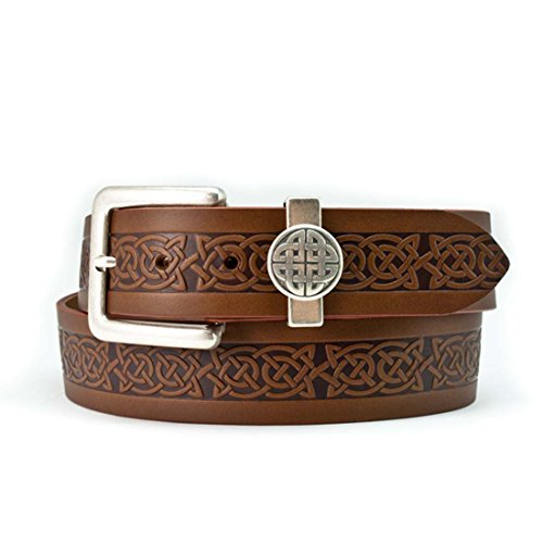 Lee River 40mm Genuine Brown Leather Belt with a Celtic Design and a Celtic - Irish Belt