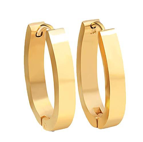 Womens Glossy Oval Earring Popular Stainless Steel Titanium Stud Earrings