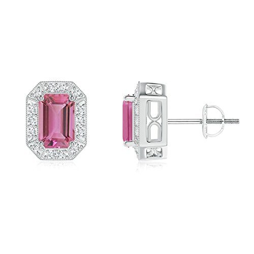 Emerald Cut Tourmaline Earring Pink (Emerald-Cut Pink Tourmaline and Diamond Halo Stud Earrings in Platinum (6x4mm Pink Tourmaline))