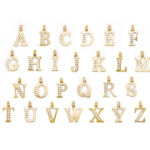 Yellow Gold Small Initial Pendant - 5