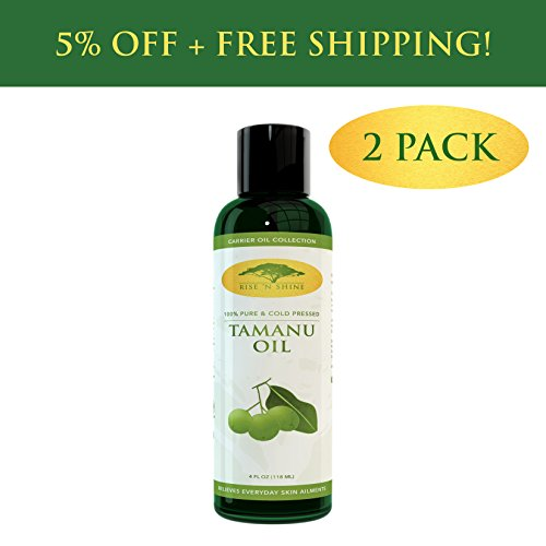 Pure Tamanu Oil Organic Cold Pressed Unrefined for Skin, Hair, Face Scalp -Carrier Oil with Vitamin E, Best Eczema Cream, Acne Treatment, Massage Oil, Scar Removal Stretch Mark Cream 4 oz – 2 Pack