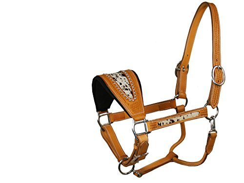 Derby Originals USA Leather Hair Inlay Bronc Halter, Light Tan by Derby Originals