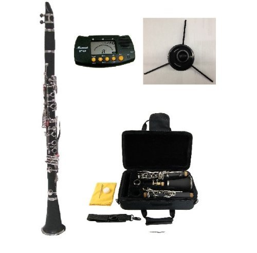 New Merano B Flat BLACK / Silver Clarinet with Case+Metro Tuner+Clarinet Stand+11 Reeds by Merano