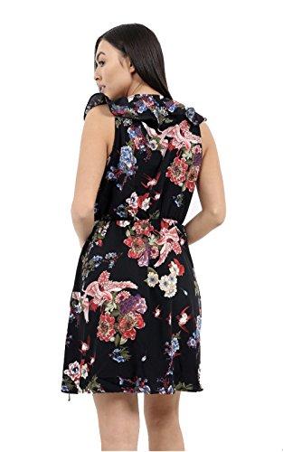 Nouvelles Femmes Dames Ceinture À Cravate Ceinturé Taille Envelopper Oiseau Floral Mini Robe Tee Imprimé Noir