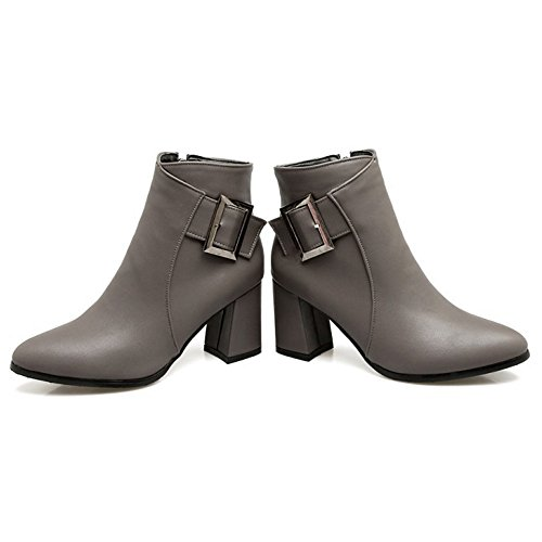 Grey Boots Fashion Women COOLCEPT Zip Heel Dress Booties Block d8Rdwq5Y