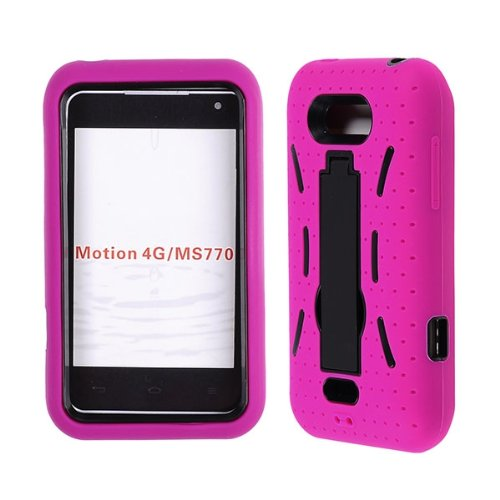 Cell Phone Snap-on Case Cover For Lg Motion 4g Ms-770 -- Two Tone Solid Color + Kickstand