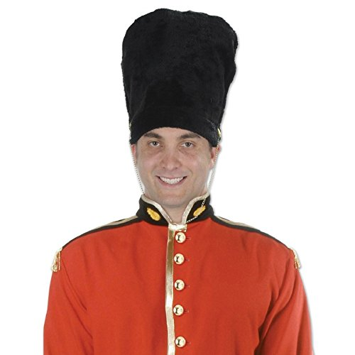Club Pack of 12 Jet Black Royal Guard Hat Costume Accessories 22