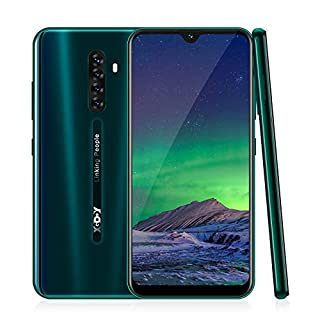4G Smart Phone,Xgody Note8 Mobile Phone Unlocked,Dual Sim Free Android 9.0 Phones,6.26 inch qHD+ Waterdrop Screen Cell Phone,16GB ROM + 64GB Storage,Face ID-Green