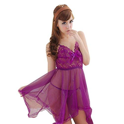 Chemise String (Womens Sexy Lace Lingerie Sheer Babydoll Sleepwear Chemise Spaghetti Strap Nightwear Sleepwear G-string Set (Purple))