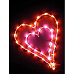 "Valentine Double Heart Lighted Window Wall Decoration 16"" x 13"""