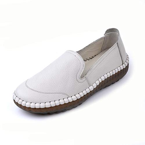 single bottom shoes creamy white hand stitched shoes ladies leather FLYRCX comfortable soft work casual Vintage flat shoes Rqyv46KS