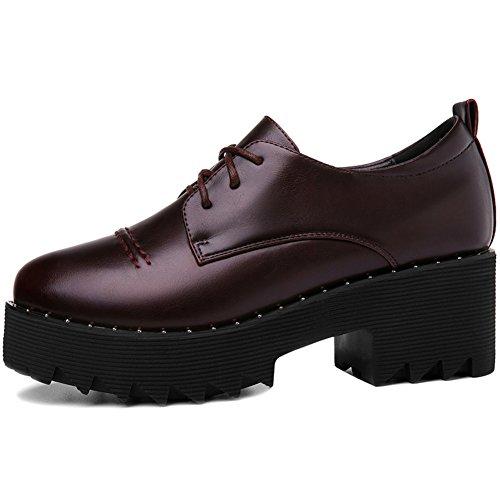 Red Walking MAC Anti Shoes Heels Round Sole Thick Women U Platform Shoes Toe Chunky Sneakers Slip TwZUqdO