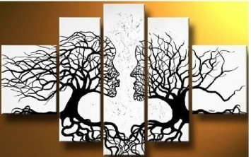 Wieco Art - Wind Floating Tree 5 Panels Abstract People Oil Paintings on Canvas Wall Art Ready to Hang for Bedroom Home Decorations Modern Contemporary 100% Hand Painted Stretched and Framed Artwork