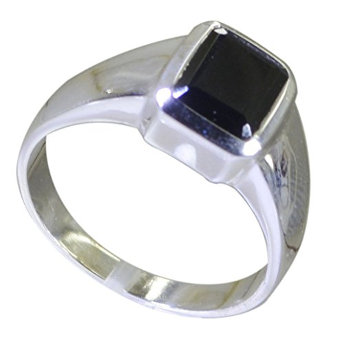 (Jewelryonclick Genuine Black Onyx Statement Rings 925 Sterling Silver Bezel Style Size 5,6,7,8,9,10,11,12)