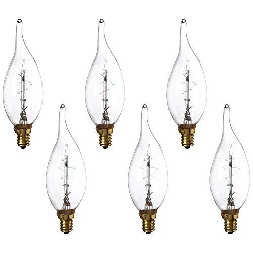 Clear Edison Style Flame Tip 60 Watt Candelabra Bulb 6-Pack - Tesler