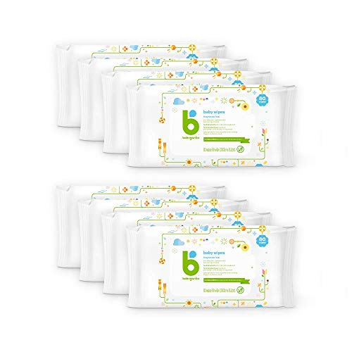 Baby Wipes, Babyganics Unscented Diaper Wipes, 640 Count, (8 Packs of 80), Non-Allergenic and formulated with Plant…
