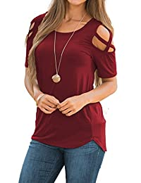 Women Shirt Short Sleeve Top Cut Out Cold Open Shoulder Blouse