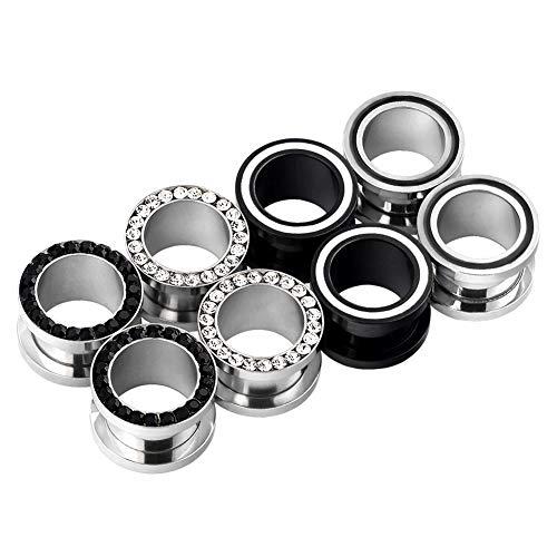 D&M Jewelry 8pcs 8G-9/16 Stainless Steel Screwed Ear Tunnels & Single Row Gem Tunnels Piercing (9/16