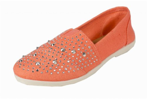 Malta! By Soda Stylish Spike Studded Slip-On Flats, light coral cotton, 7.5 M (Pink Soda Shoes compare prices)
