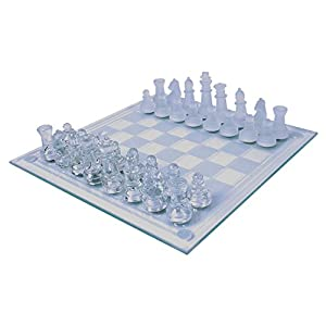 Global Gizmos 2 In 1 Benross Glass Chess And Draughts Set