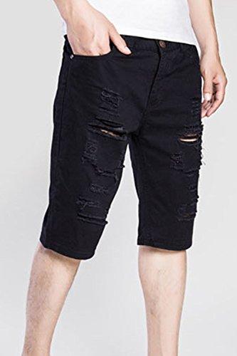 Hombres Hoyos Pantalones Denim Cremallera Ripped Slim Black Cortos Jeans Los Fit wdYItSI