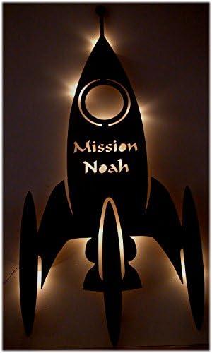 Dekolampe Rakete Dekolicht Weltraumrakete Nachtlicht Dekoleuchte Weltraum