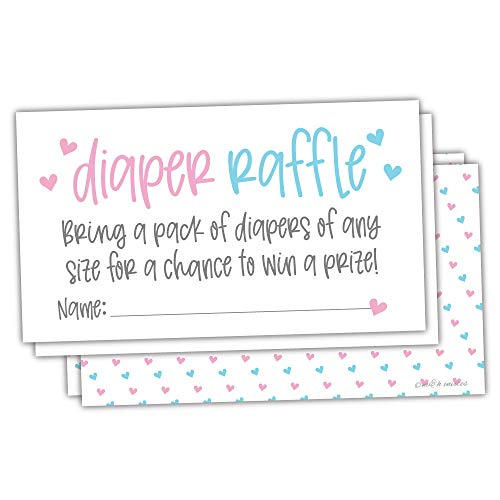 50 Gender Reveal Pink and Blue Diaper Raffle Tickets - Baby Shower Game