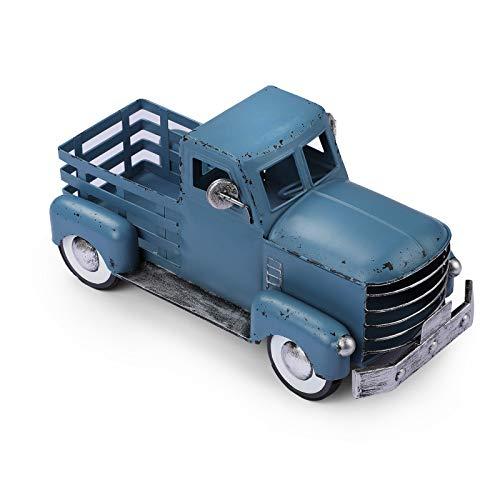 Vintage Blue Truck Décor, Farmhouse Blue Truck Spring Decoration, Decorative Tabletop Storage & Pick-up Metal Truck…