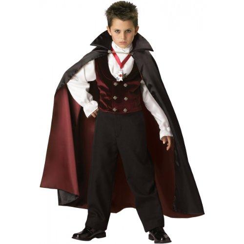 InCharacter Costumes Boys 2-7 Gothic Vampire  Costume, Black/Burgundy, 6 -