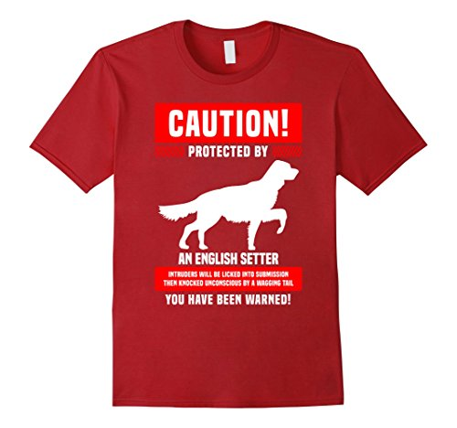 Mens Funny English Setter Warning Protected By T-Shirt Small Cranberry