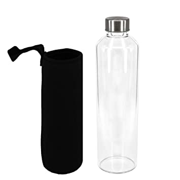 Sunkey Botella Agua Cristal 1 Litro sin Bpa de Claro Borosilicato Vidrio con Neopreno Funda Reutilizable y Durable