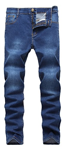 Fredd Marshall Men's Skinny Slim Fit Stretch Straight Leg Fashion Denim - Blue Denim Jean