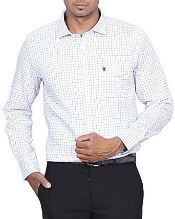 D Indian Club White Shirt With Blue Checks M 38
