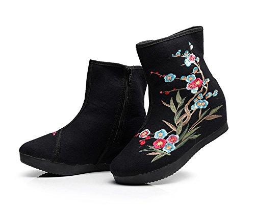 KHSKX-Partido Único Polo Botas Botas De Cremallera Lateral Estilo Folk Aumento De Zapatos Botas Y Sola black
