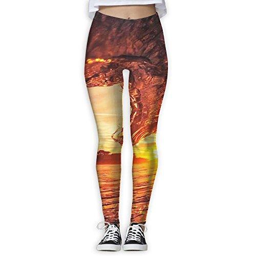 Sunset Dusk Waves Printed High Waist Yoga Capris Pants Full-Length Yoga Workout Leggings Pants for Women -