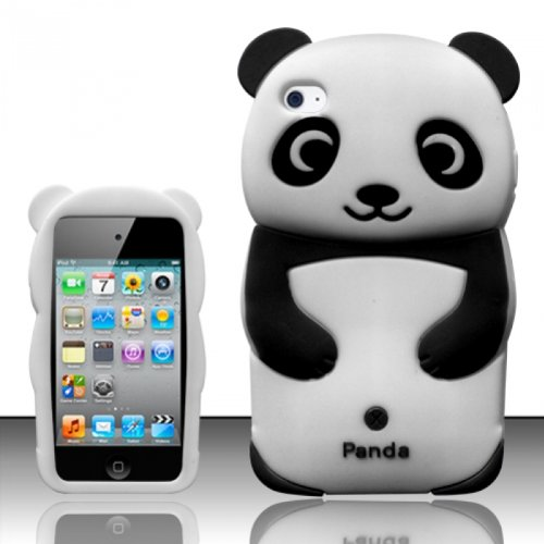 4 Gen 4G 4th - 3D Panda Bear Design Silicone Flexible Cover Case - Black SCPB3D ()