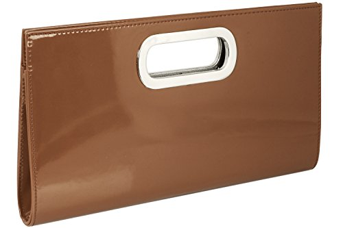 Borsa clutch XL/borsetta da sera Samantha in ecopelle di alta qualità, colore:Bronzo