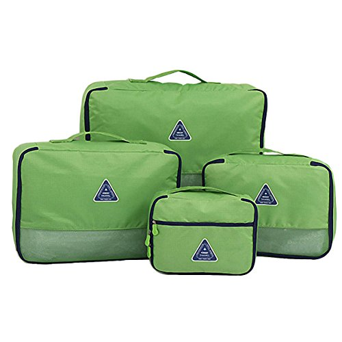 Travel Packing Organizers - Clothes Cubes Shoe Bags Laundry Pouches For Suitcase Luggage, Storage Organizer 4 Set Color Green by TRAVELIN