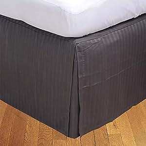 Brightlinen Elephant Grey Superking (180 X 200 Cm) Box Pleated Bedskirt Stripe (drop Length: 34 Cms) 1pcs