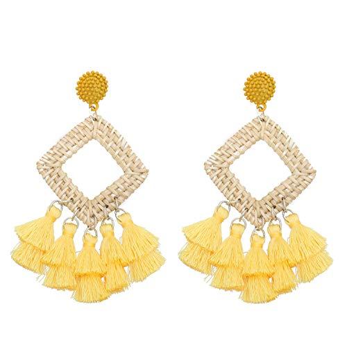 - New Handmade Drop Earring For Women Bohemian Bamboo Rattan Straw Weave Tassel Earrings Trendy Long Dangle Ethnic Fringed Jewelry,Yellow