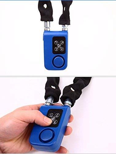 CQJDG 105DB Lucchetto con allarme antifurto per bicicletta funzione sveglia digitale Password Catena con lucchetto a combinazione 4